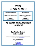 "Teach The Language of Math Using ""Talk To Me""! (GCSA Edition)"