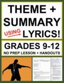 Teach Theme and Summary Using Music Lyrics: No Prep Lesson Plan & Handouts