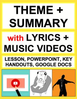 Teach Theme and Summary using Music Lyrics: No Prep Lesson Plan & Handouts