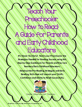 Teach Your Preschooler How to Read:A Guide for Parents/Early Childhood Educators