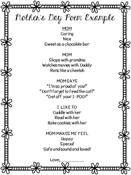 Father's Day and Mother's Day Poems for Gift Giving - Writing Workshop Mini-Unit