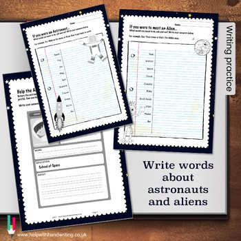 Space themed alphabet and numbers cursive handwriting resource: Grades 1 to 6.