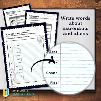 Help an astronaunt handwriting worksheets