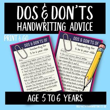 Teach handwriting 5 to 6 years
