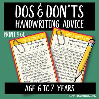 Teach handwriting 6 to 7 years