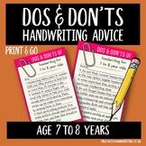 Teach handwriting 7 to 8 years