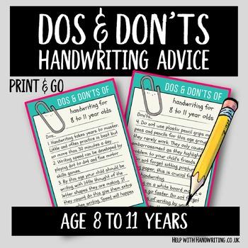 Teach handwriting 8 to 11 years