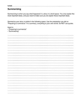 Teach students how to summarize: GRAPHIC ORGANIZER AND WORKSHEET
