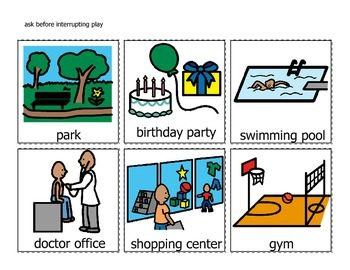 TeachTown Visuals for Following Rules lessons