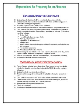 Teacher Absence Checklist