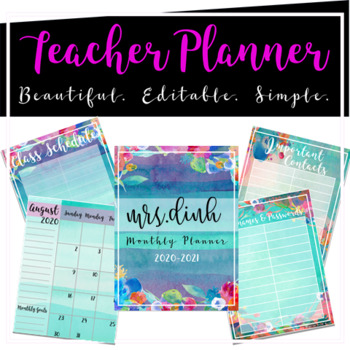 Editable Teacher Monthly Planner (Aqua Floral)