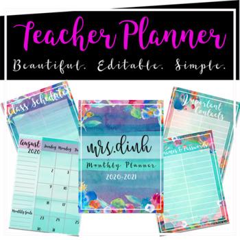 Editable Teacher Monthly Planner 2019-2020 (Aqua Floral)