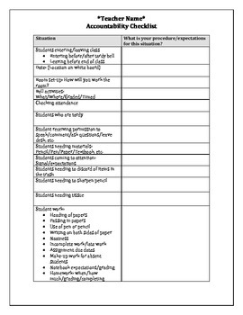 Teacher Accountability Checklist