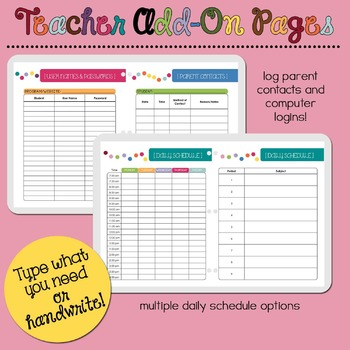 Teacher Add-On Pages for Yearly Planner Binder