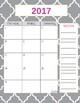 Teacher Gradebook & Agenda (Grey Quatrefoil)
