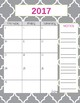 Teacher Gradebook & Agenda (Grey Quatrefoil)