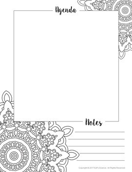 Teacher Agenda and Notes Coloring Pages