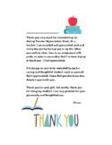 Teacher Apprecaition Week Thank You Letter