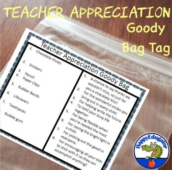 End of the Year Teacher Appreciation Tags for Goody Bags