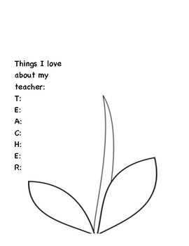Teacher Appreciation Acrostic Poem Coloring