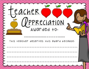 Teacher Appreciation Award Activity