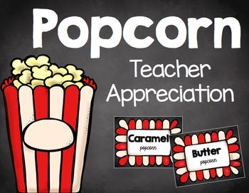 Teacher Appreciation - Back to School - Popcorn Bar - Cards