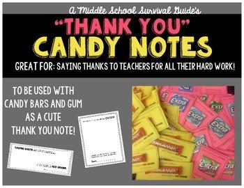 """Teacher Appreciation: Candy """"Thank You"""" Notes"""