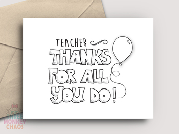 photograph about Teacher Appreciation Cards Printable titled Instructor Appreciation Card - PRINTABLE - Coloration BW by yourself coloration!