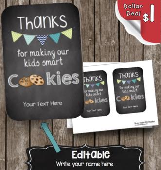 Teacher Appreciation Card - Smart Cookies - Editable