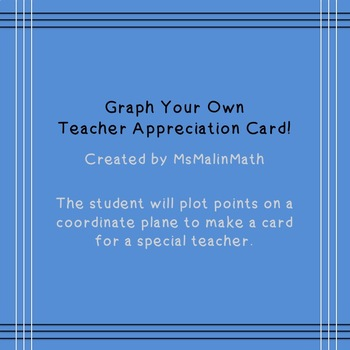 Teacher Appreciation Card on Coordinate Grid