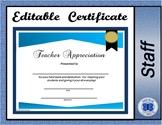 Teacher Appreciation Certificate - Editable