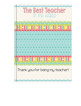 Teacher Appreciation Class Book
