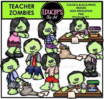 Teacher Zombies Clip Art Bundle {Educlips Clipart}
