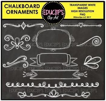 Chalkboard Ornaments Clip Art Bundle {Educlips Clipart}