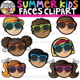 Summer Kid Faces Clipart {Creating4 the Classroom}