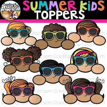 Summer Kid Toppers Clipart {Creating4 the Classroom}