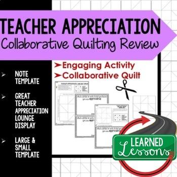 Teacher Appreciation Collaborative Quilt, Classroom Displa