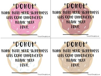 Teacher Appreciation *DONUT* Thank You Notes