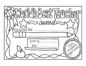 Teacher Appreciation Day Certificate to Color