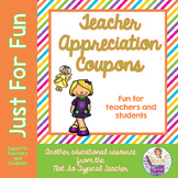 Teacher Appreciation Day Reward Coupons Principals