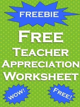 Teacher Appreciation Week FREE