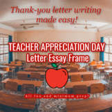 Teacher Appreciation Essay Scaffold