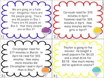 FREEBIE Addition and Subtraction Word Problem Task Cards