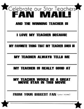 Teacher Appreciation Fan Mail
