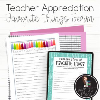 Teacher Appreciation- Favorite Things Beach Theme
