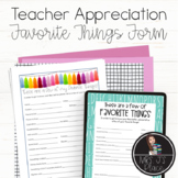 Teacher Appreciation: Favorite Things Forms