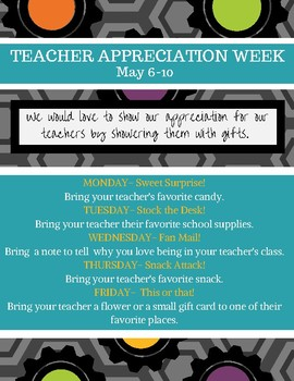 Teacher Appreciation Flyer and Staff Info Sheet (2019)