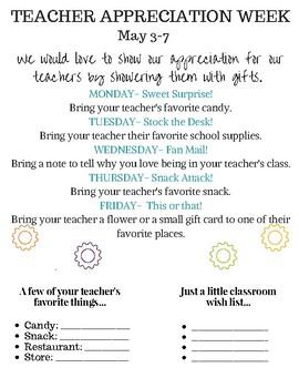 Teacher Appreciation Flyer and Staff Info Sheet (2021)
