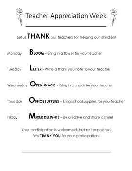 Teacher Appreciation Week Flyer for Parents - FREE