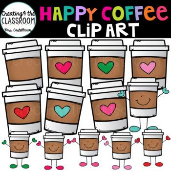 Happy Coffee Cups Clip Art